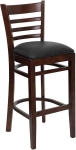 Mahogany Stool with Black Seat
