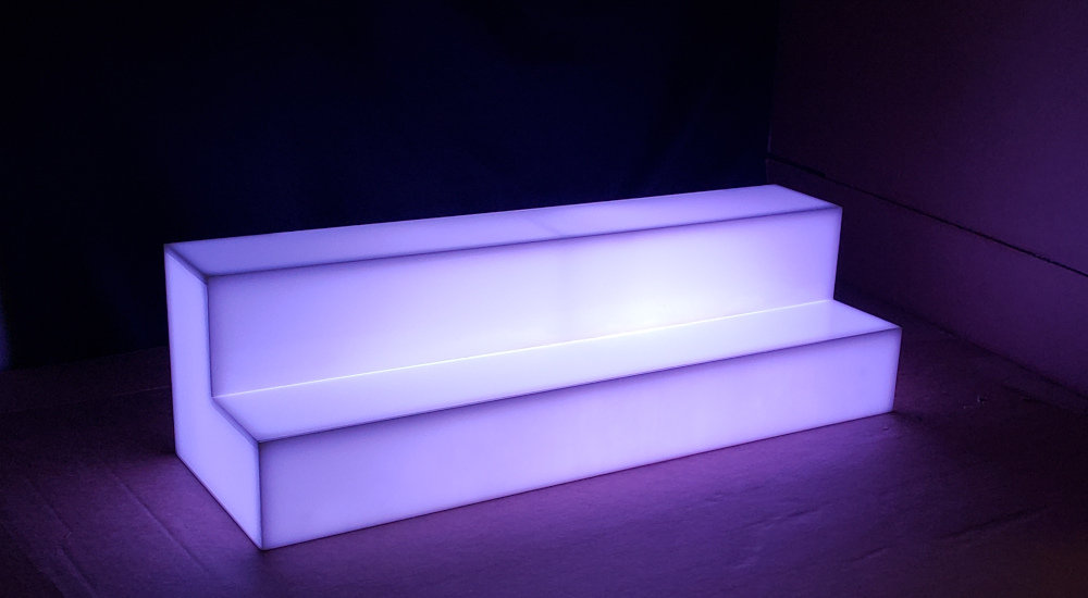 2 Step LED Shelf. Shown 30 Inch Long White