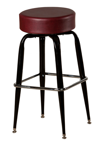 Swivel Round Backless Bar Stool With Black Frame 4 Inch