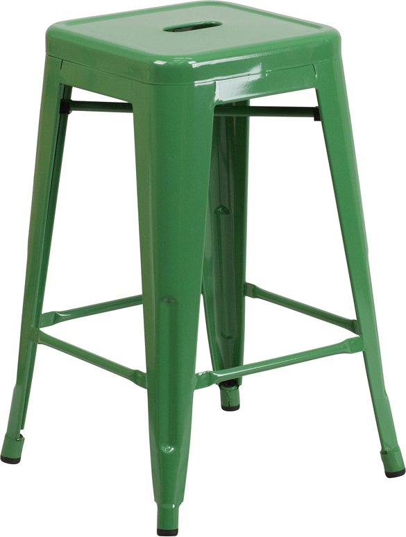 Retro Metal Backless 24 Inch Counter Height Patio Bar Stool