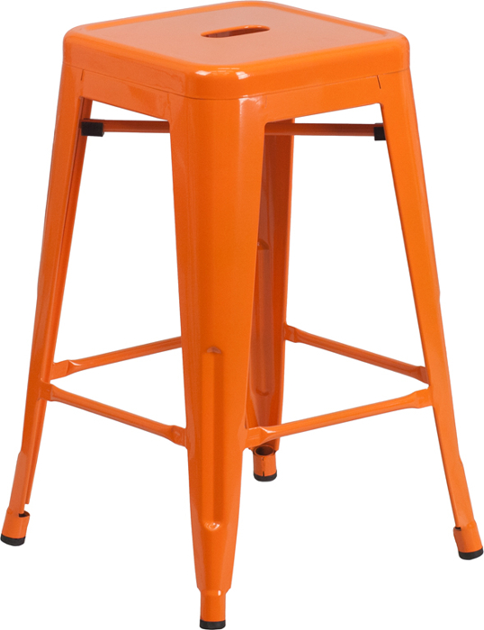 Orange Metal Backless 24 Inch. Black ...  sc 1 st  Banquet Tables Pro & Retro Metal Backless 24 Inch Counter Height Patio Bar Stool islam-shia.org