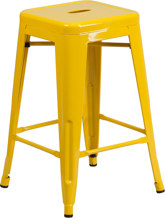 ... Counter Height Patio Bar Stool. Yellow Metal Backless 24 Inch. Blue ...