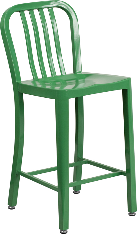 Outdoor Colorful Metal Counter Height Bar Stool 24 Inch Seat