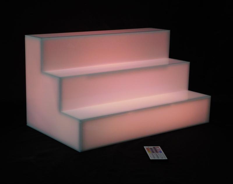 3 Step Tiered Led Glow Illuminated Acrylic Bottle Shelf