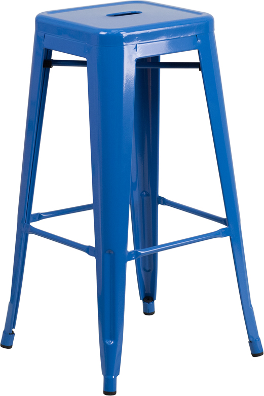 Blue Metal Backless Bar Stool