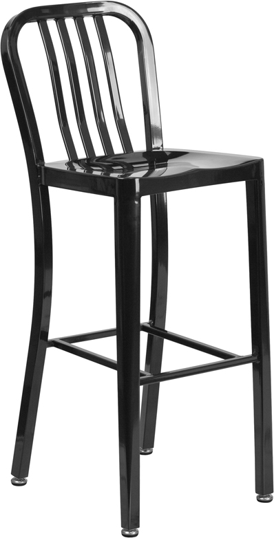 Outdoor Colorful Powder Coated Metal Bar Stool 30 Inch Seat