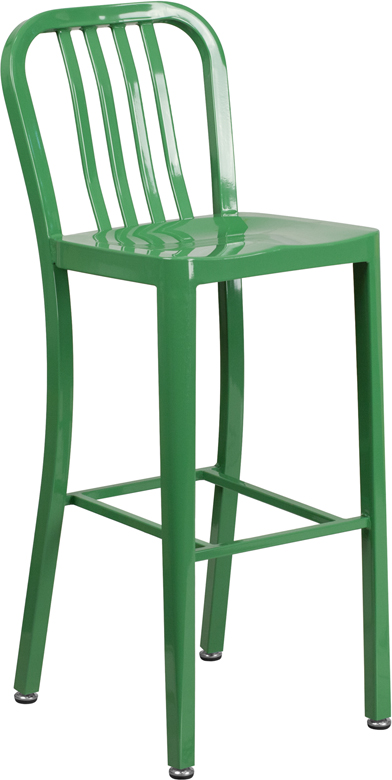 Green Outdoor Metal Bar Stool Blue