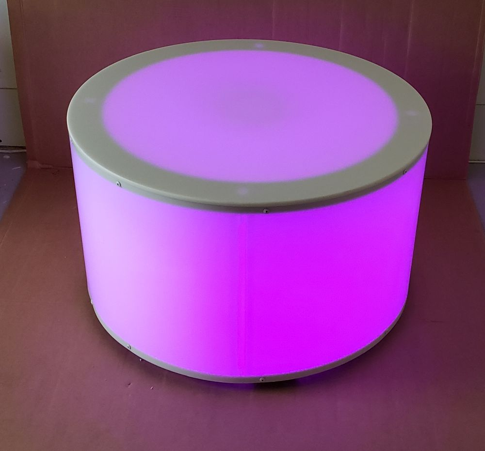 30 Inch Round Light Up LED Glow Coffee Table Purple
