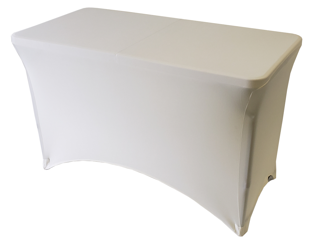 30x48 4 Foot Ivory Fitted Spandex Table Cover