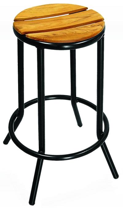 Pleasing Round Outdoor Bar Stool With Black Metal Frame Teak Wood Seat Bralicious Painted Fabric Chair Ideas Braliciousco