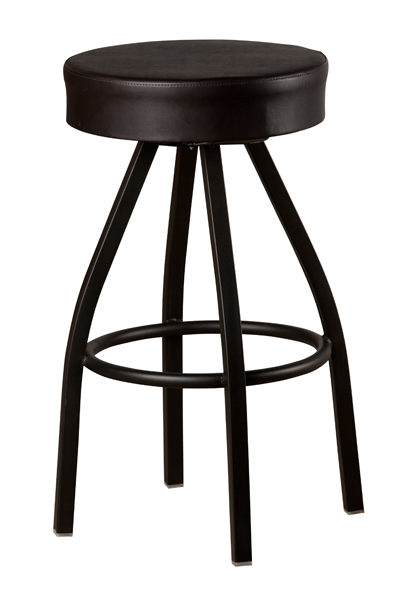 Black Frame Extra Large Seat Button Top Swivel Bar Stool