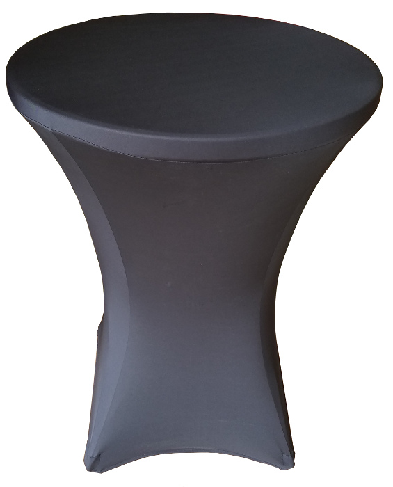 32 Round X 43 Inch Tall Height Black Stretch Fitted