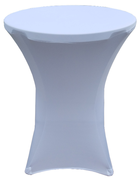32 Round x 43 Inch Tall Height White Stretch Fitted Spandex Cover for Folding Bar Tables