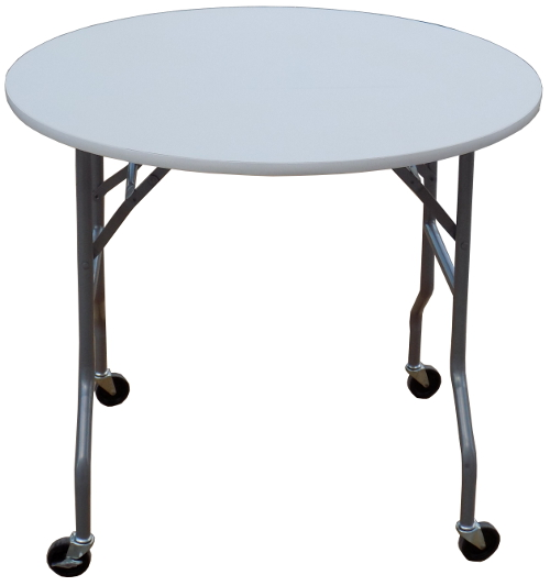 Round White Folding Table W/ Wheels. Bottom