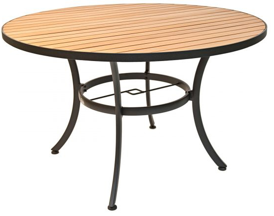 48 Round Resin Teak Table w/ Black Frame