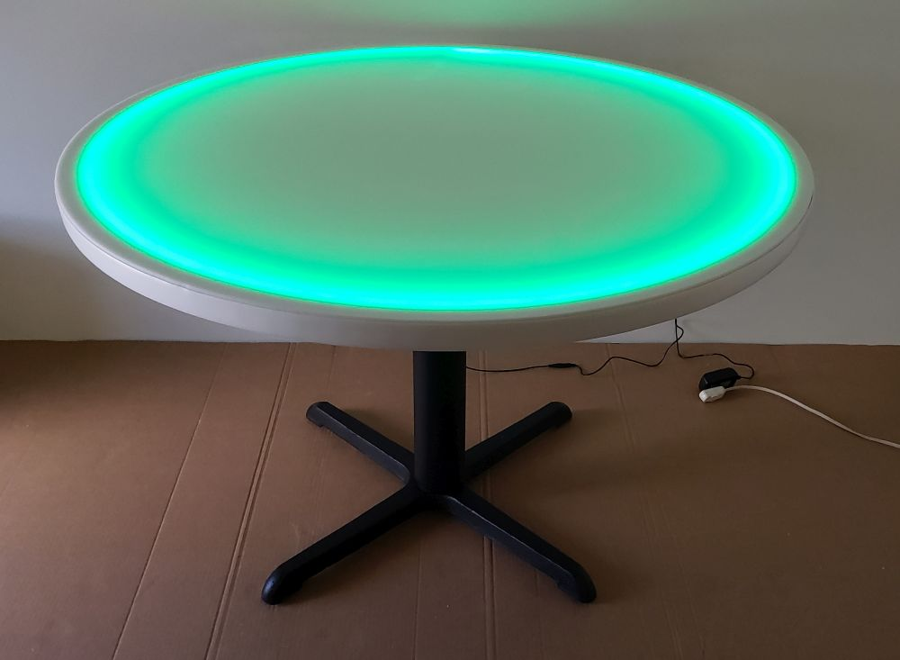 48 Inch Diameter Round LED Glow Table w/ Cast Iron Base