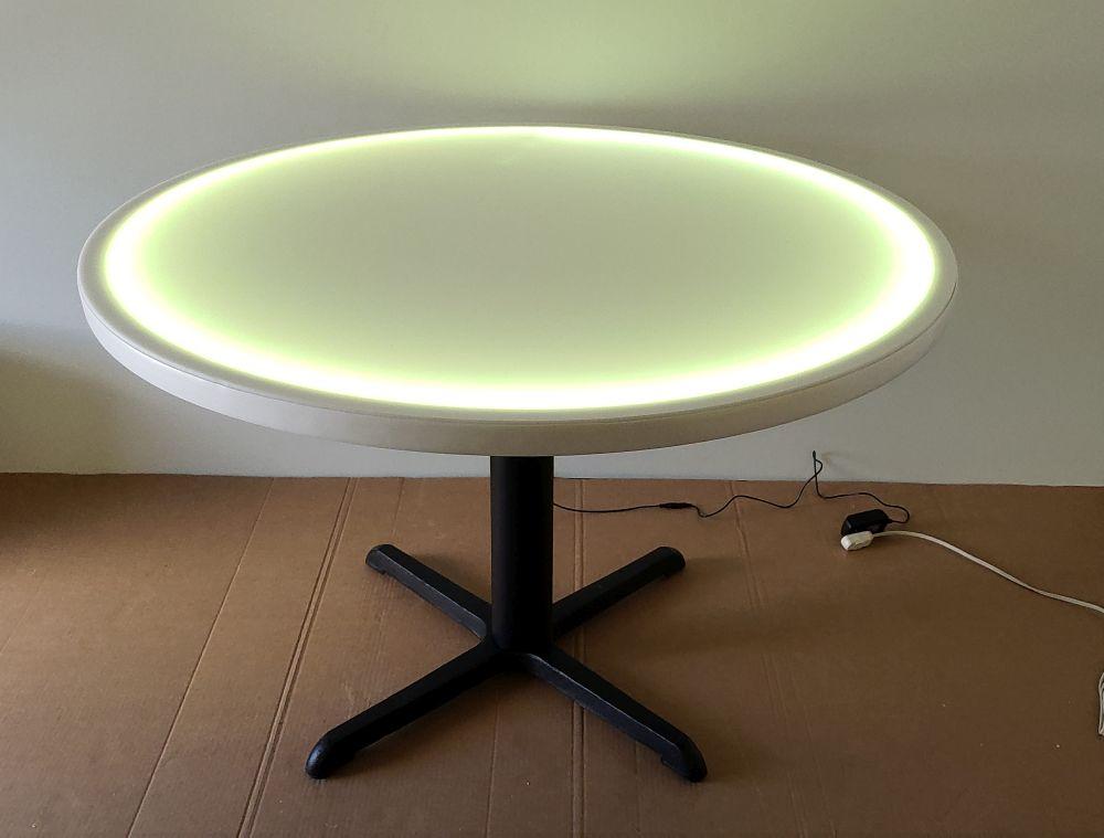 48 Inch Diameter Round Led Glow Table W Cast Iron X Style