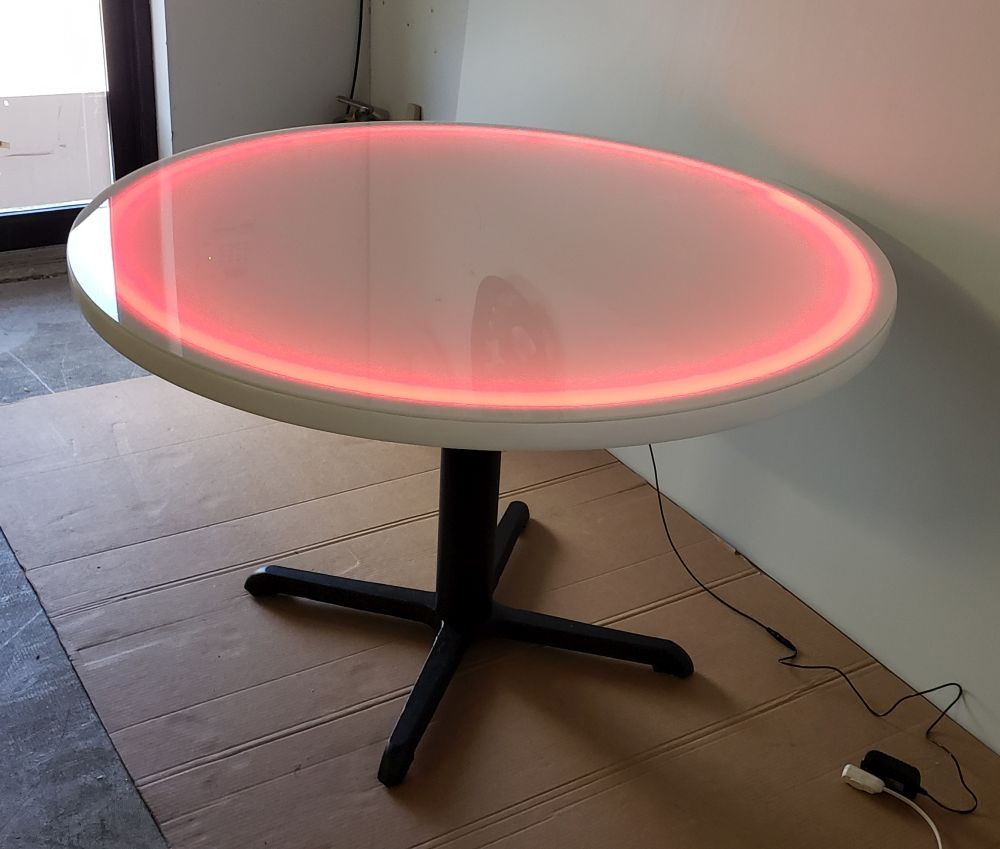 48 Inch Diameter Round Led Glow Table W Cast Iron X Style