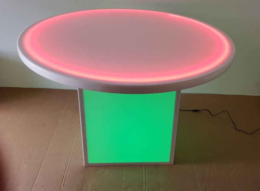 48 Inch Round Glow Table With Removable Glow Cube Base