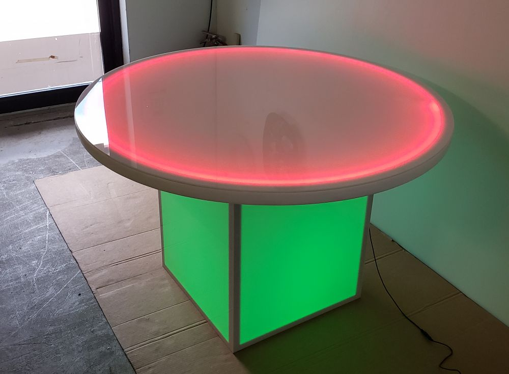 48 Inch Diameter Round LED Glow Table w/ Cube Base