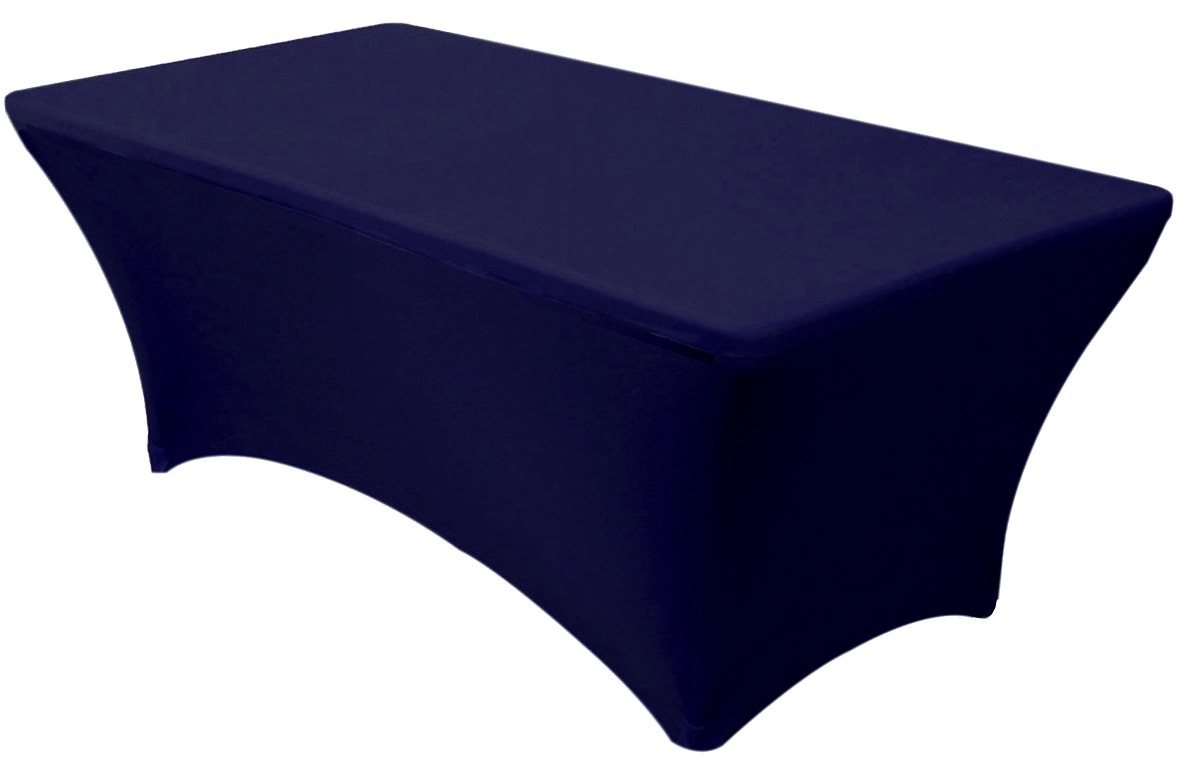 30x72 6 Foot Navy Blue Fitted Spandex Table Cover