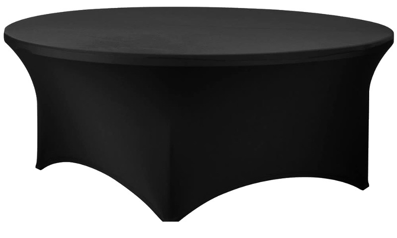Black 72 Inch (6 Ft) Round Spandex Stretch Table Cover