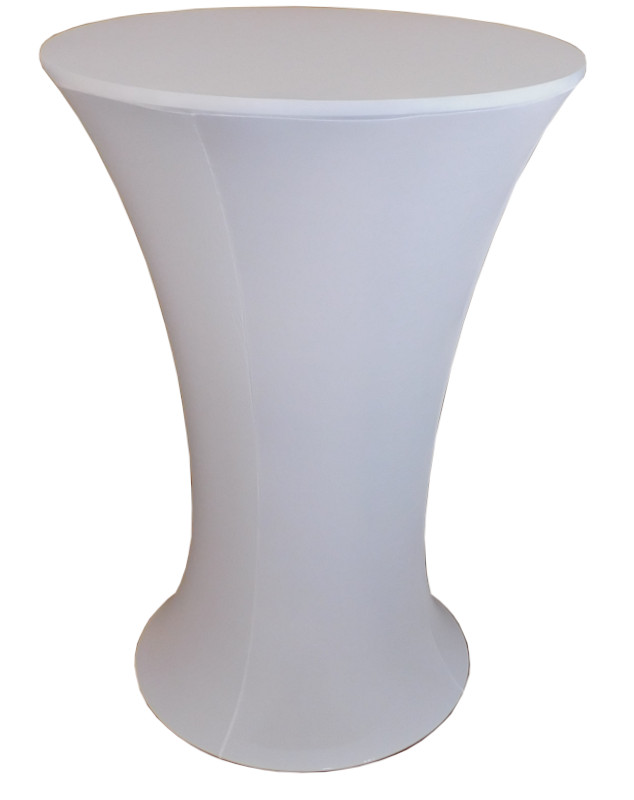 White Stretch Spandex Cover for Round Bottom Cocktail Tables
