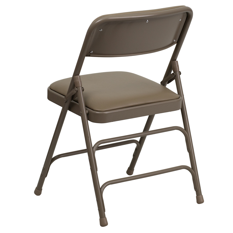 Beige Folding Chair W Vinyl Padded Seat