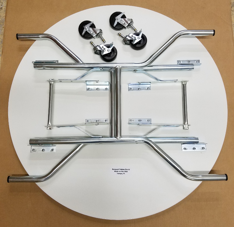 36 Inch Round Folding Cake Table On Wheels
