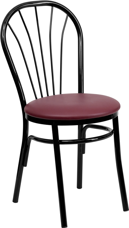 Black Metal Fan Back Restaurant Chair with Burgundy Vinyl Seat