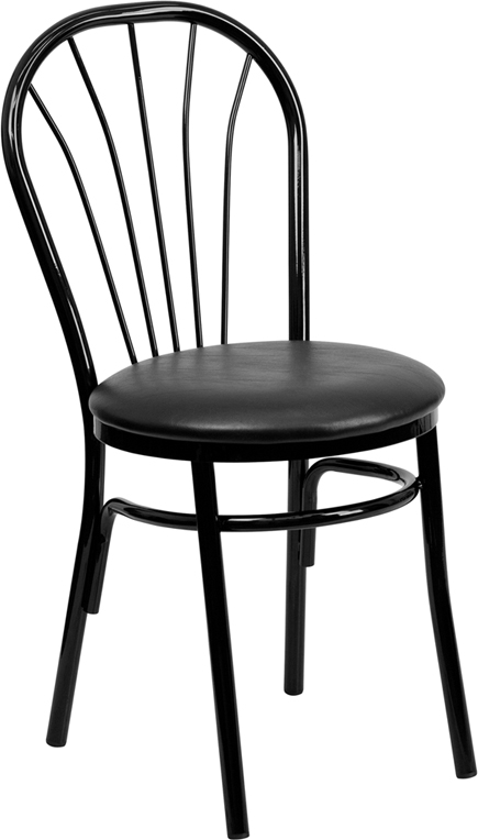 Black Metal Fan Back Restaurant Chair with Black Vinyl Seat