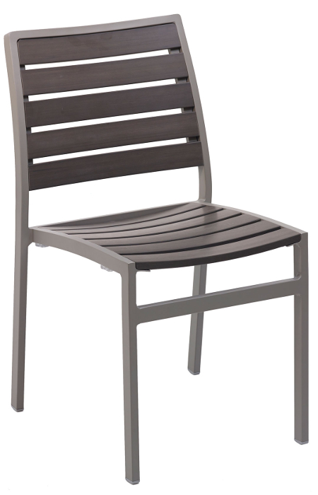 Outdoor Side Chair w/ Gray Synthetic Teak Slats