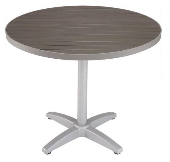 Round Patina Gray Synthetic Teak Outdoor Table