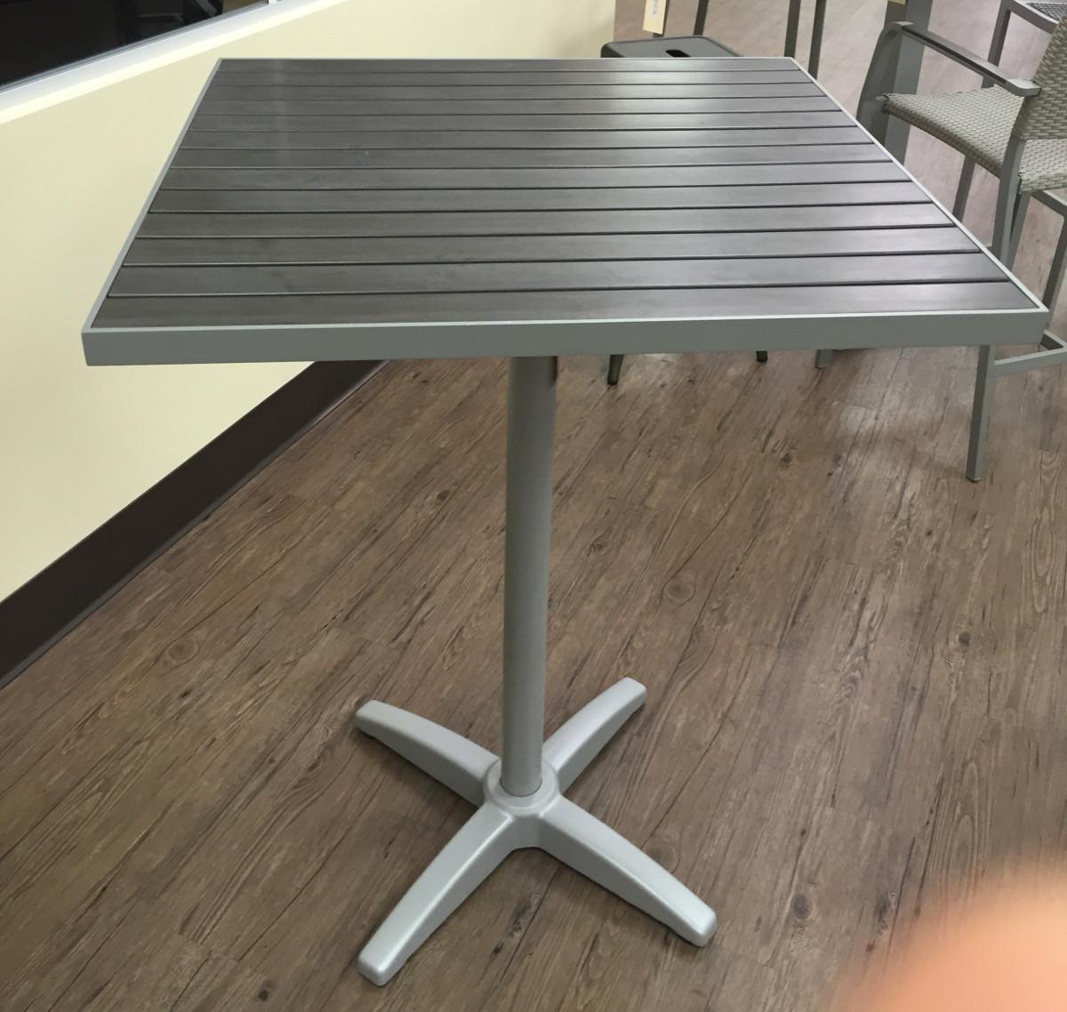 Square Patina Gray Teak Resin Patio Table W Silver Frame