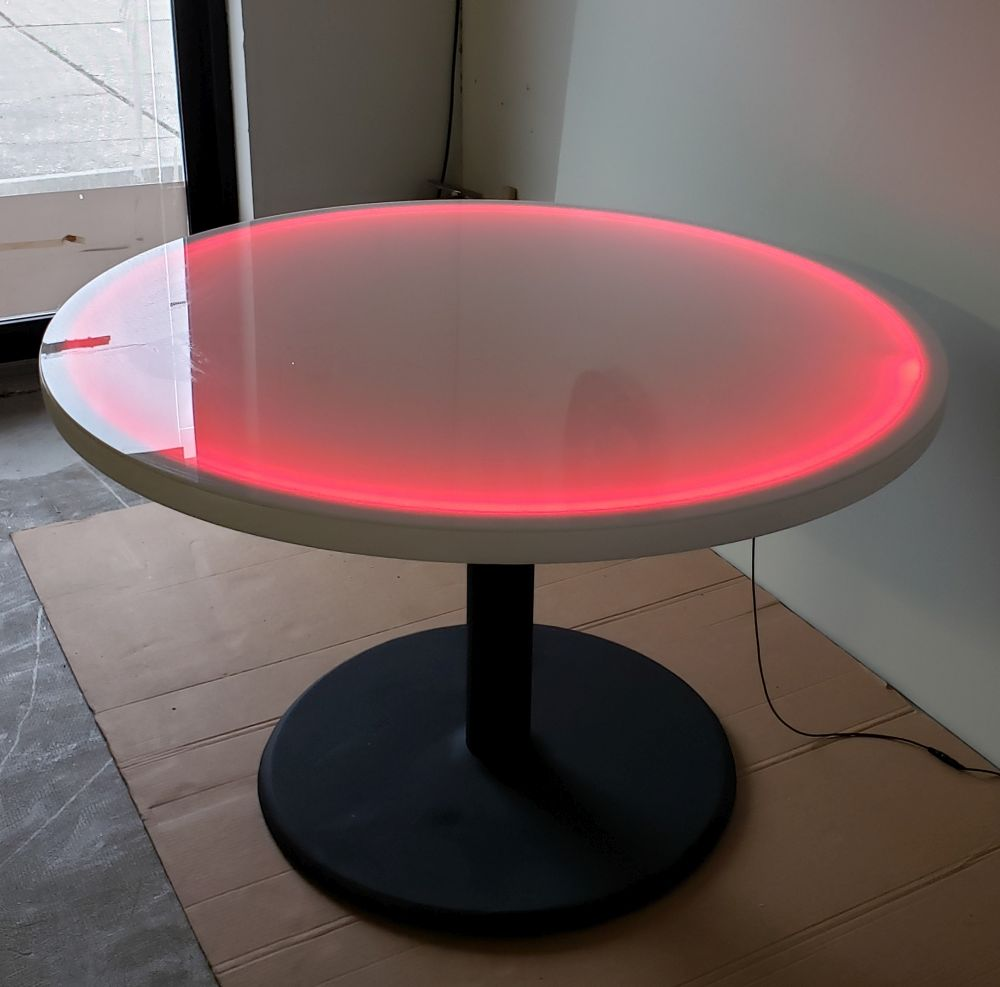 48 Inch Round Light Up Glow Top Table With Round Black