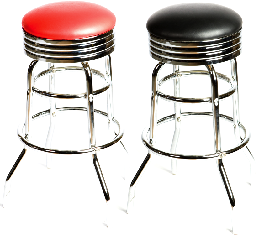 Retro 50s Diner Style Backless Bar Stool Chrome Banding And Frame