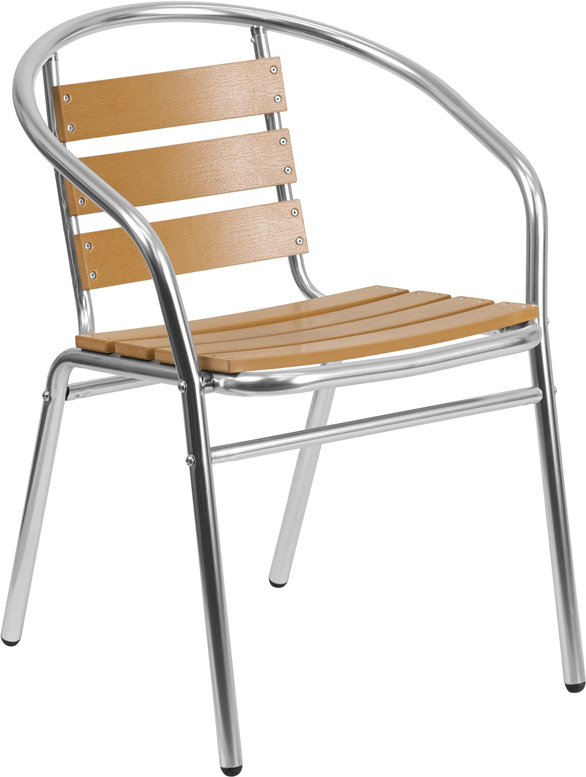 Commercial Aluminum Outdoor Cafe Chair with Faux Teak Slats
