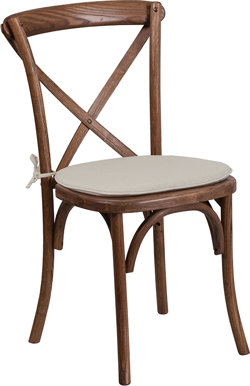 Pecan Wood Finish Cross Back Chair with Cushion