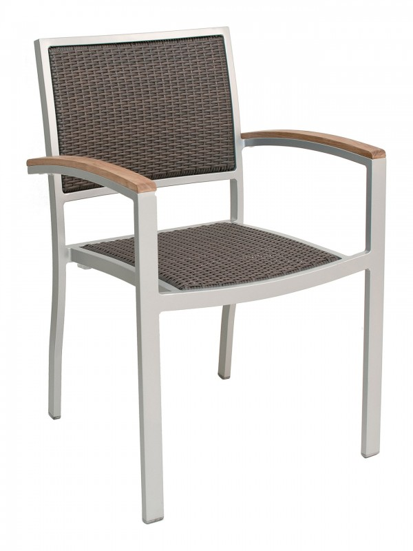 Outdoor Commercial Arm Chair with Java Color Weave and Silver Frame