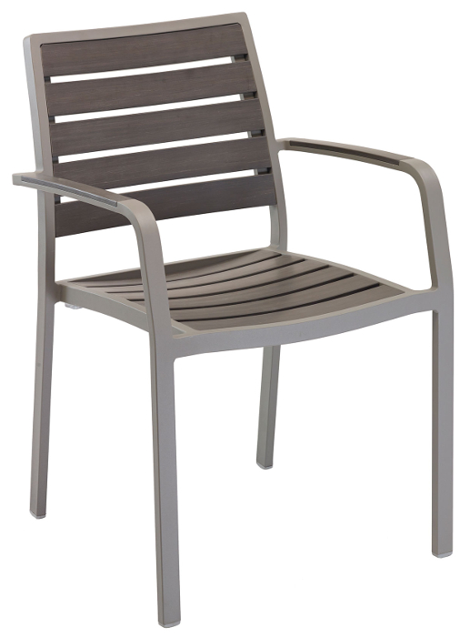 Outdoor Gray Synthetic Teak Restaurant Chair w/ Arms