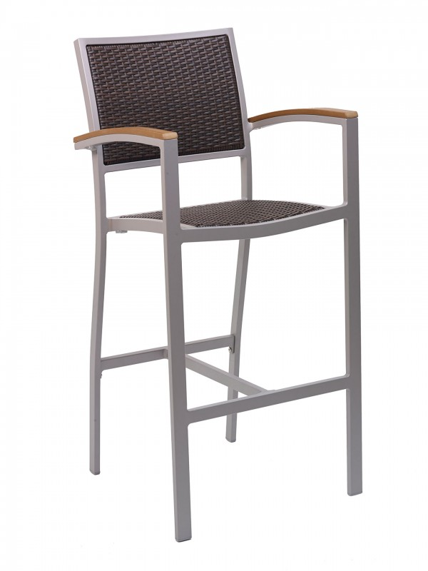 Outdoor Commercial Bar Stool with Dark Java Color Weave and Silver Frame