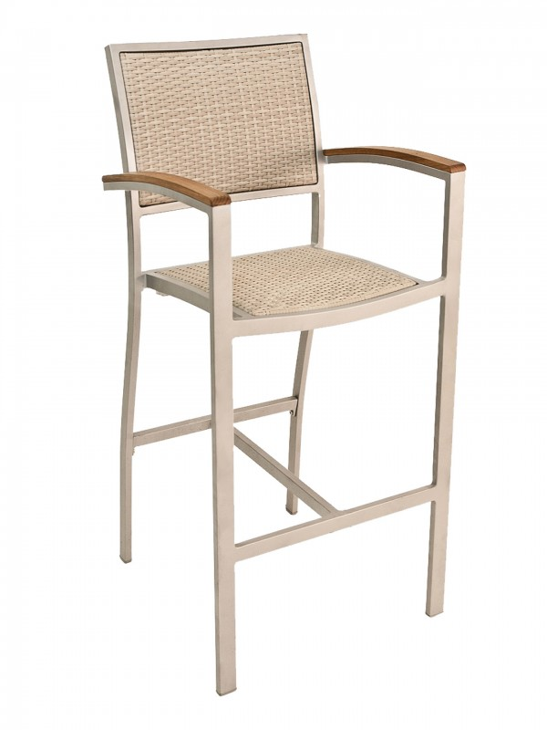 Outdoor Commercial Bar Stool with Natural Color Weave and Silver Frame