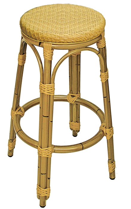 Outdoor Aluminum Bamboo Backless Bar Stool With Woven Seat