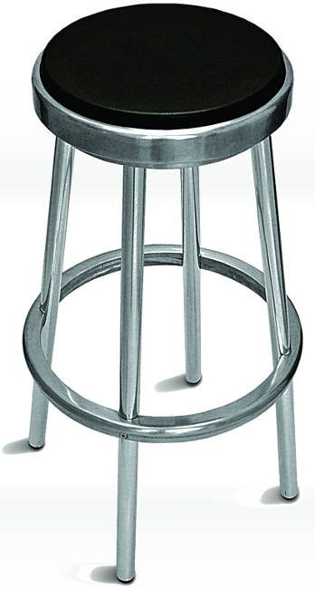 Outdoor Aluminum Backless Bar Stool W Black Seat