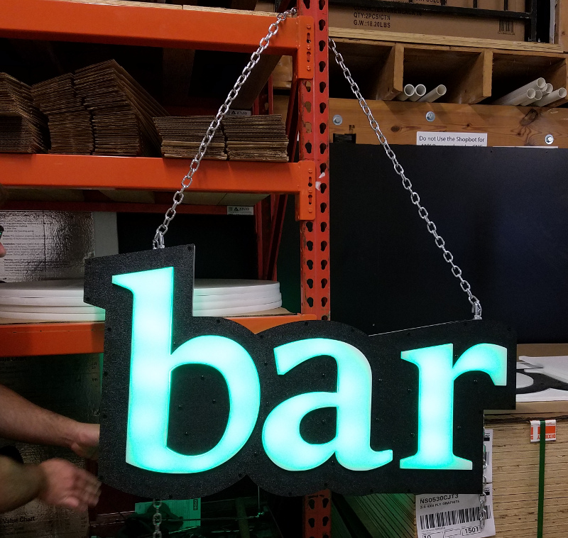 Outdoor Raised Letter Color Changing LED Glow Hanging Profile Signs
