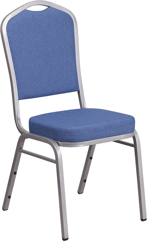 Blue Fabric Crown Back Stacking Banquet Chair Silver Frame