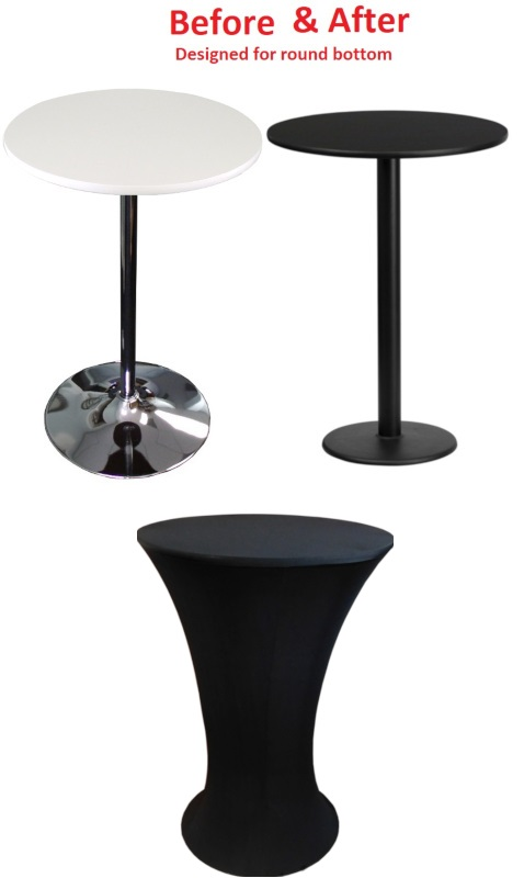 Black Stretch Spandex Cover For Round Bottom Cocktail Tables