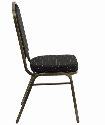 Black Fabric Crown Back Banquet Chair W Gold Vein Frame