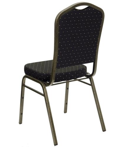 Black Fabric Crown Back Banquet Chair W Gold Vein Frame