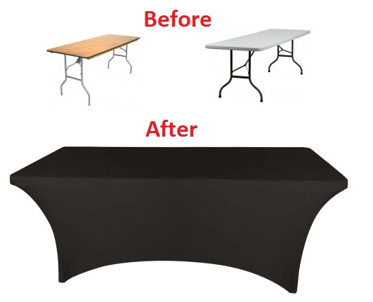 30x96 8 Foot Black Fitted Spandex Table Cover